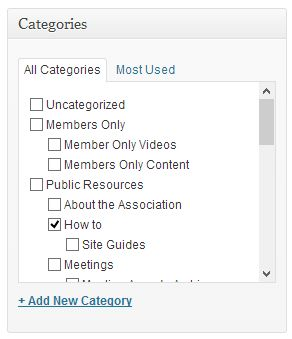Embed youtube video in wordpress - Select Category